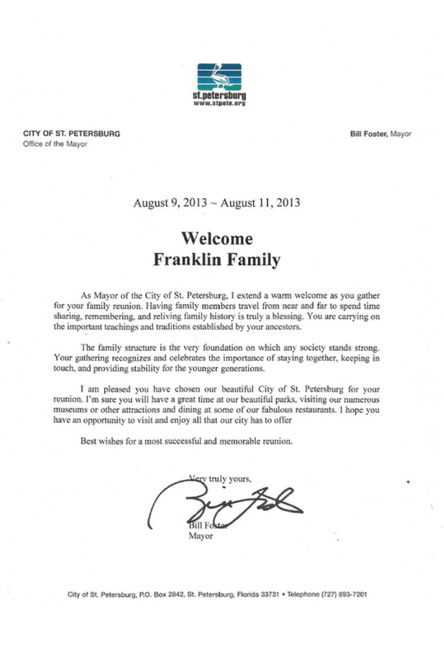 family reunion welcome letter mayoral welcome the franklin family reunion 21656 | 9424013